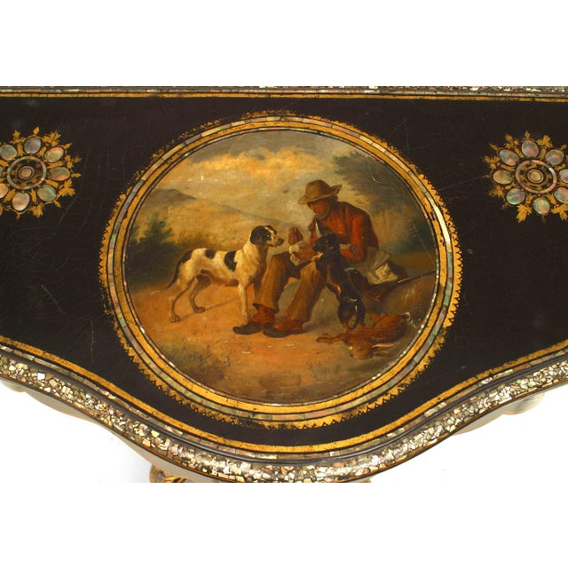 Mother-of-Pearl English Victorian Papier Mâché Pearl Inlaid Flip Top Console Table For Sale - Image 7 of 8