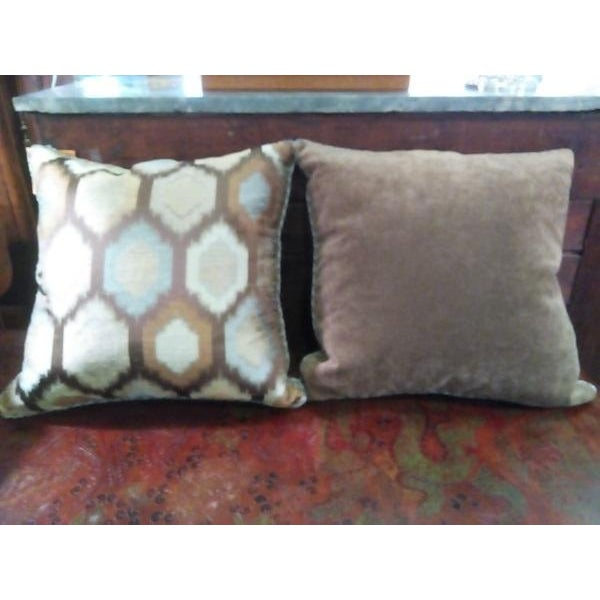 Brown Contemporary Feather Throw Pillows - A Pair - Image 3 of 4