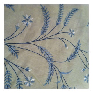 Blue Embroidered Cotton Fabric - 3 Yards For Sale