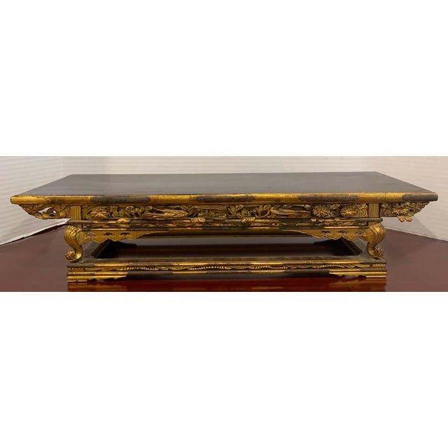 Exquisite Meiji period gilt lacquered and brass-mounted stand, of rectangular form with engraved brass mounts, beautiful...