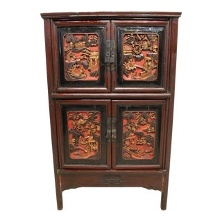 Chinese Red Lacquered and Parcel Gilt Cabinet For Sale
