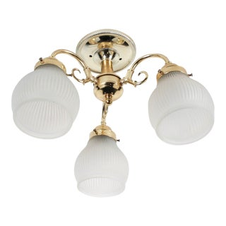 Brass 3-Lamp Ceiling Fixture For Sale