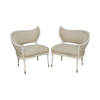 Hollywood Regency Style Vintage Pair of Curved Paint Frame Fireside Chairs
