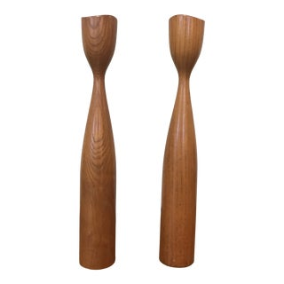 1960s Danish Teak Candle Holders - a Pair For Sale