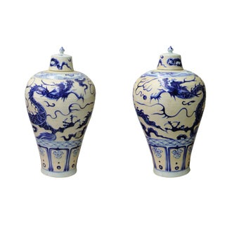 Pair Chinese Oriental Ceramic Porcelain Relief Blue Dragon Jars For Sale