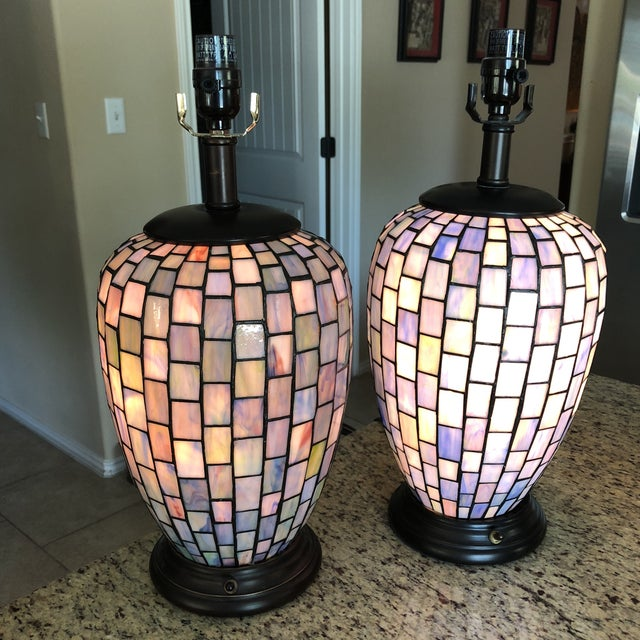 Arts & Crafts Arts and Crafts Geometric Blue Stained Glass Lamps - a Pair For Sale - Image 3 of 13