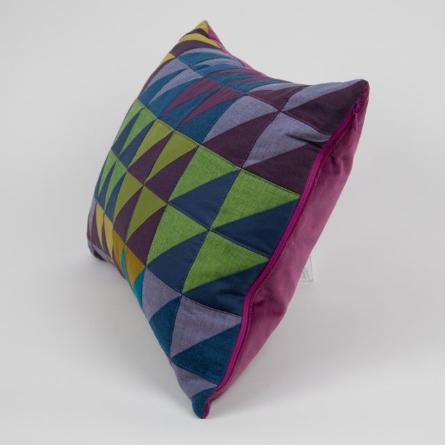 Modern Modern Rectangular Multi-Color Quilted Pillow For Sale - Image 3 of 5