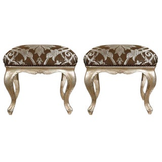 18th C. Italian Silver-Leafed Stools - a Pair For Sale