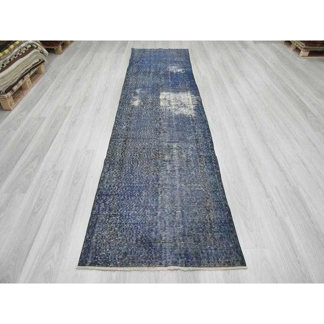 Islamic Vintage Turkish Blue Overdyed Runner Rug - 2′11″ × 12′ For Sale - Image 3 of 6