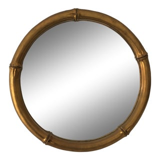 Italian Faux-Bamboo Round Mirror C. 1970s For Sale