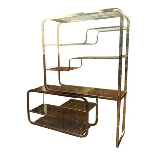 Mid Century Brass & Glass Etagere by Milo Baughman For Sale