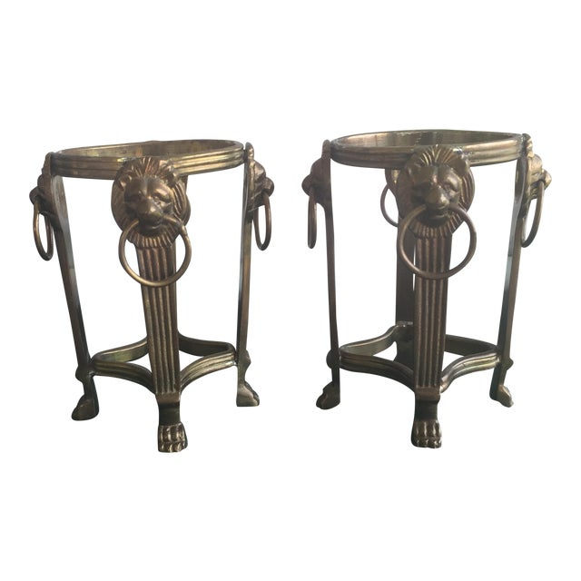 Vintage Hollywood Regency Brass Lions Head Votive Candle Holders - a Pair For Sale