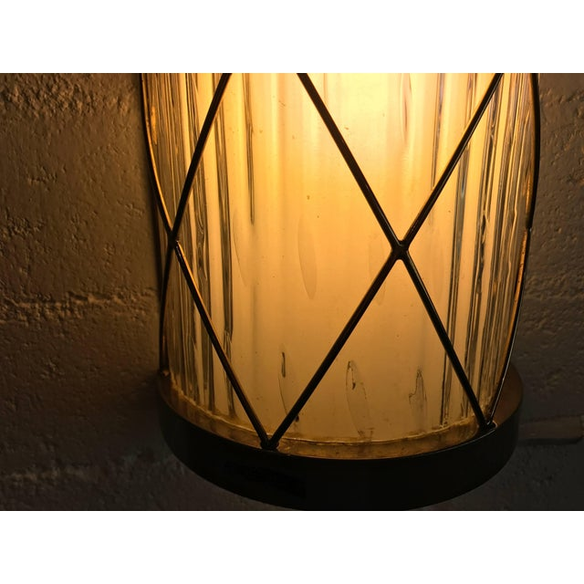 Hollywood Regency Wall-Mounted Brass and Glass Sconces- A Pair For Sale - Image 3 of 8
