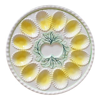 Round Ceramic Oyster Shell Motif Serving Platter in Yellow and Green For Sale