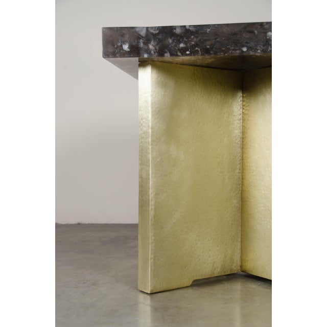 Robert Kuo Quad Brass Table Set with Smoke Crystal Top by Robert Kuo, Limited Edition For Sale - Image 4 of 6