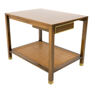 Mid Century Modern Harvey Probber for Dunbar Brass and Caned Side Table For Sale