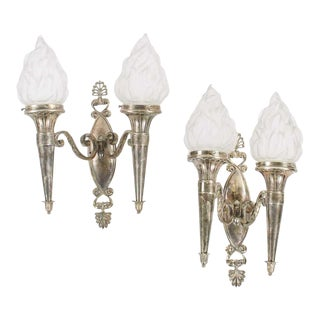 Neoclassical Beaux-Arts Silver-Plated Double Sconces - a Pair For Sale