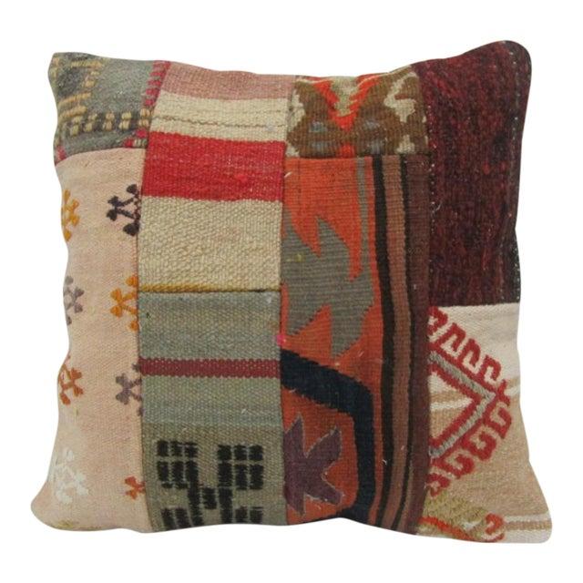 Vintage Handmade Patchwork Kilim Pillow Cover For Sale