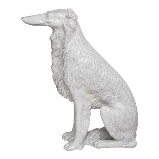 Life-Size Borzoi in Italian White Glazed Terracotta For Sale