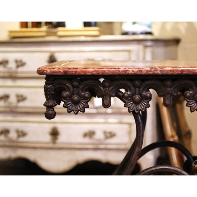 Red French Polished Iron and Brass Pastry Table With Variegated Red Marble Top For Sale - Image 8 of 11