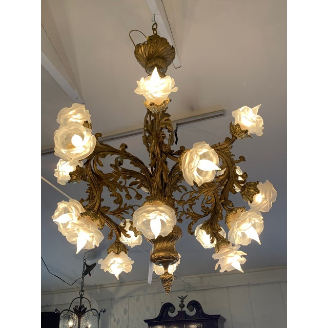 Rococo 18-Light Cast Gilt Bronze Chandelier For Sale - Image 12 of 12