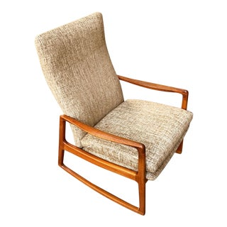 Ole Wanscher Danish Teak High Back Rocking Chair For Sale