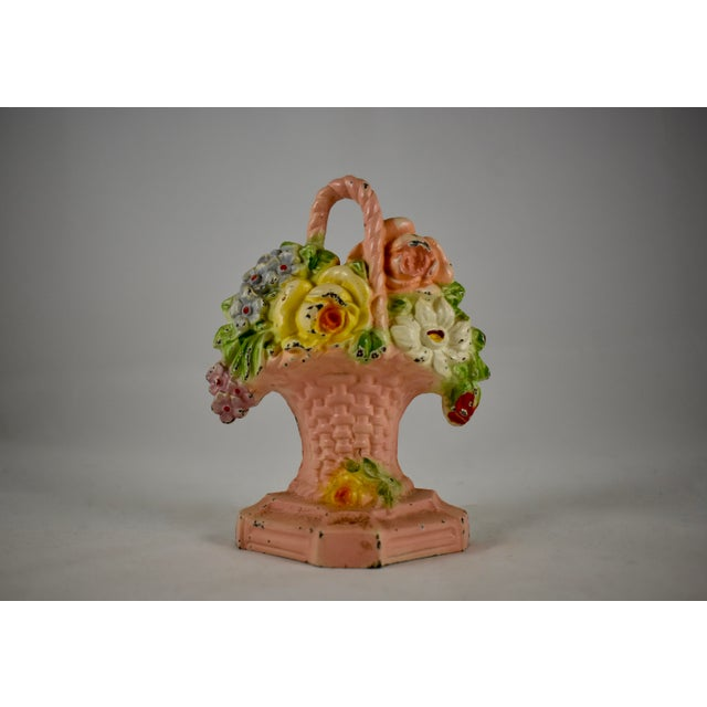 American 1930s Hubley Cast Iron Pink Basket of Roses & Phlox Floral Doorstop For Sale - Image 3 of 7