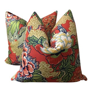 "Thibaut Honshu in Coral and Green 22"" 22"" Pillows - a Pair For Sale"