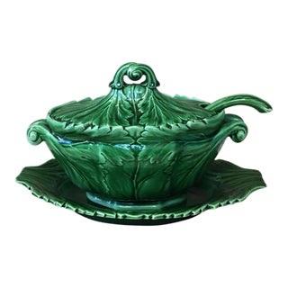 19th Century Spode Majolica Victorian Green Tureen With Ladle and Stand - 3 Pc. Set For Sale