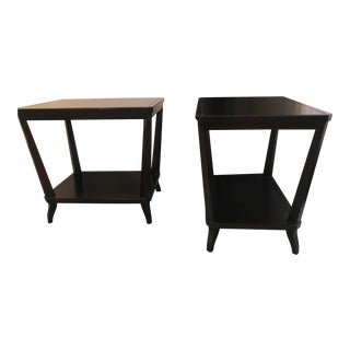 Transitional Hickory Chair Dark Walnut Rectangular Side Tables - Set of 2 For Sale