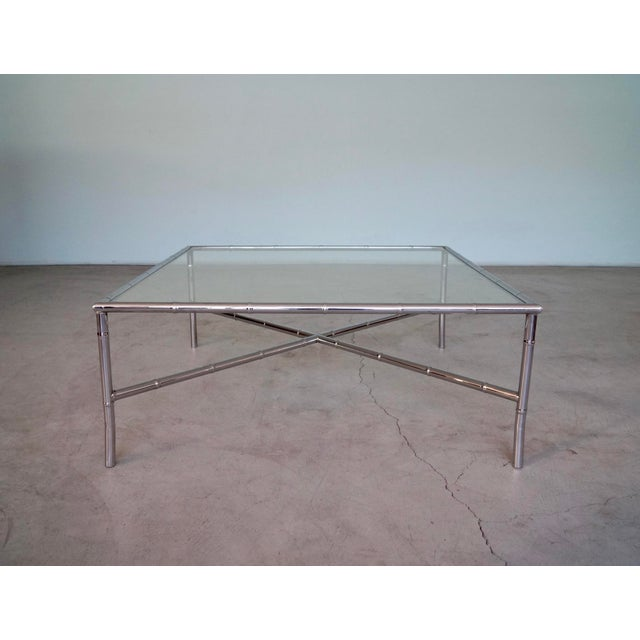 1960s Hollywood Regency Chrome Bamboo Coffee Table For Sale - Image 13 of 13