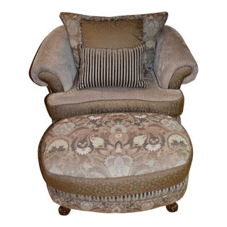 1980s Vintage Town & Country Multi Fabric Designer Chair & Ottoman For Sale