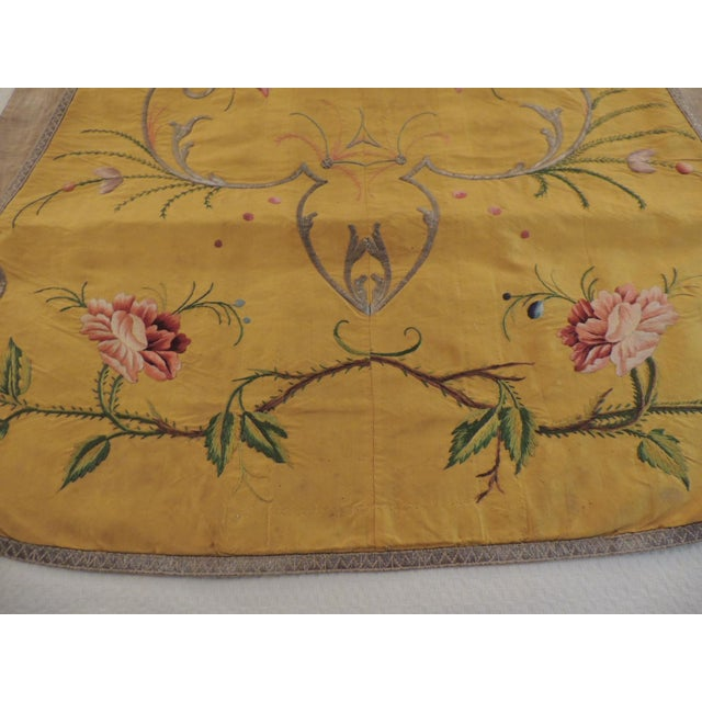 Hollywood Regency Gold and Yellow Embroidered Antique Chasuble For Sale - Image 3 of 6