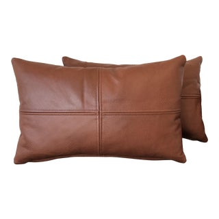 Mid-Century Modern Textured Leather Pillows - a Pair For Sale