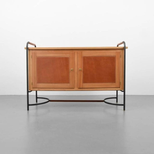 Gorgeous must have for any equestrian lover, leather, iron and ash cabinet by Jacques Adnet. Very rare.