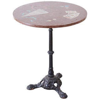 French Trompe l'Oeil Marble Granite Inset Bistro Table For Sale