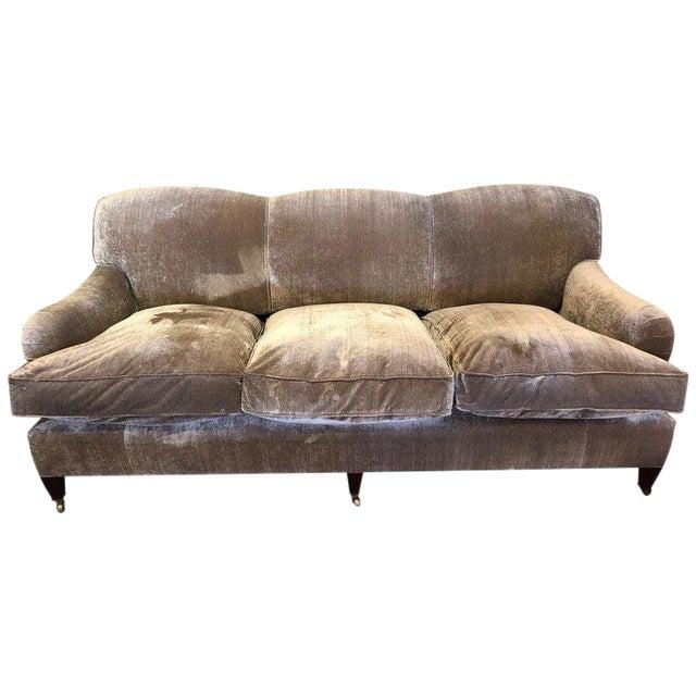 Modern George Smith Taupe Silk Velvet Sofa For Sale