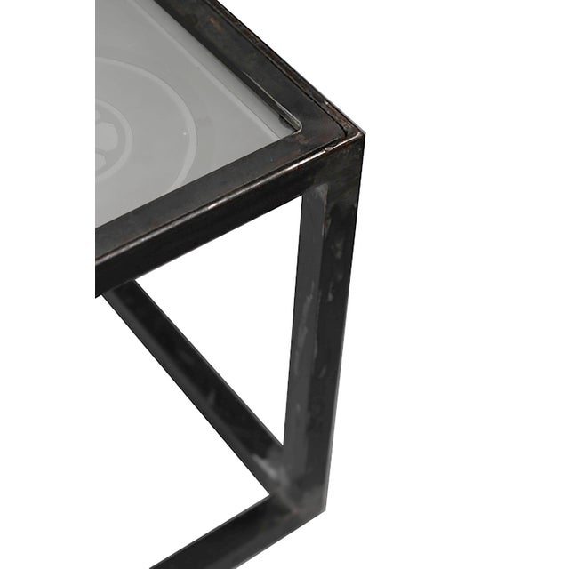 1900 Vintage French Etched Glass and Steel Coffee Table For Sale - Image 5 of 7
