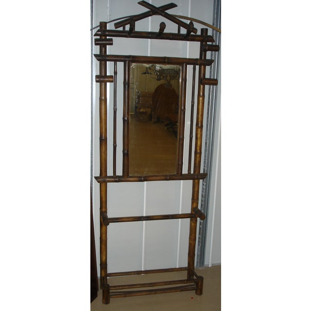 Late 19th Century Antique French Faux Bamboo Mirrored Coat Rack For Sale - Image 9 of 9