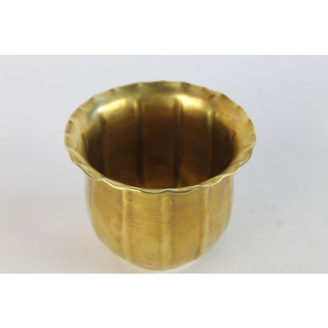 Scalloped Brass Bowl or Vase - Image 6 of 6