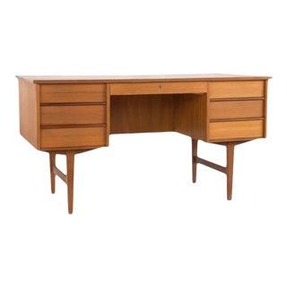 Danish Mid Century Modern Teak Executive Desk With Rear Bookcase For Sale