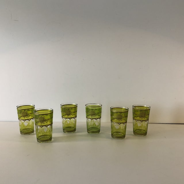 """Set of (6) Green and Gold Moroccan Mini Tea Glasses Size: 2""""D x 3.5""""H"""
