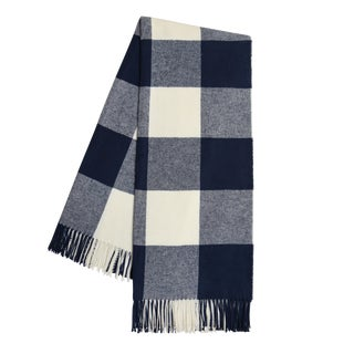 Navy Buffalo Check Throw For Sale