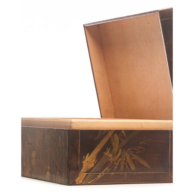 """Contemporary Lawrence & Scott Mahogany Meridian Leather Box ( 16.5"""") For Sale - Image 3 of 7"""