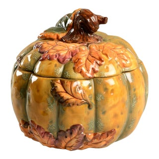 Vintage Baum Brothers Acorn Collection Pumpkin Tureen & Lid For Sale