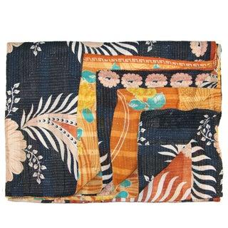 Vintage Black & Orange Kantha Quilt For Sale