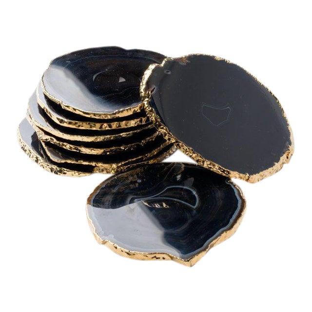Semi-Precious Gemstone Coasters in Black Onyx and 24-Karat Gold - Set of 8 For Sale