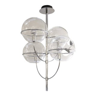 1980s O-Luce Four Globe Chandelier, Italy For Sale