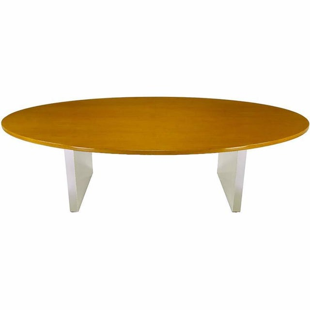 Mid-Century Modern Dunbar Oval Ash and Polished Steel Dining Table For Sale - Image 3 of 6