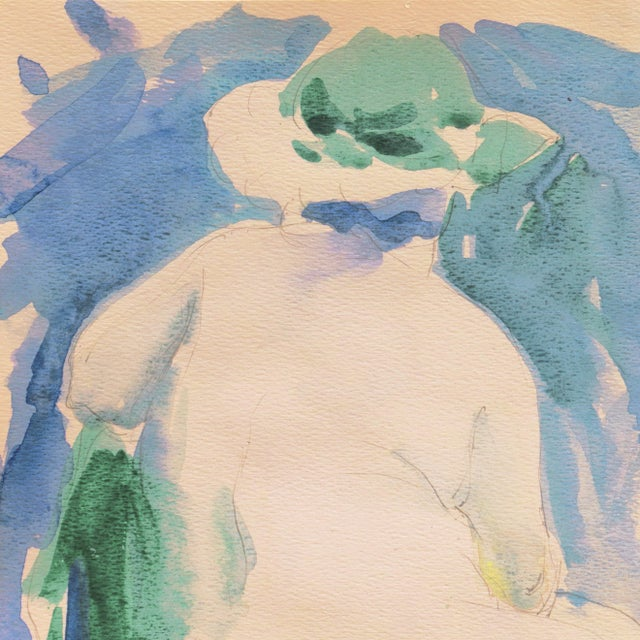 Impressionist 'Nude in a Green Hat' by Marvin Mund, San Francisco Impressionist Figural, Legion of Honor For Sale - Image 3 of 6
